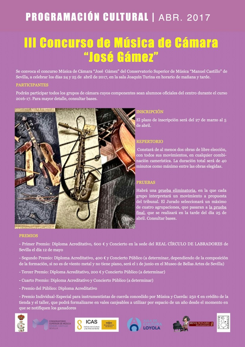 "Tercer Concurso de Música de Cámara ""José Gámez"""