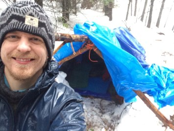 The first 2-man shelter for me and Stephen. Small, but cosy and warm despite the rain and the snow.