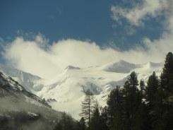 Train window shot of the Bernina Range on the Swiss-Italian border
