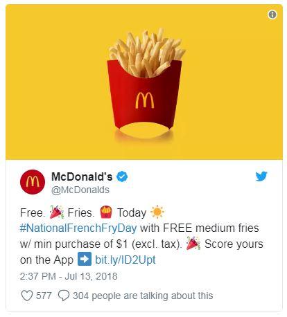 Free Fries McDonald's