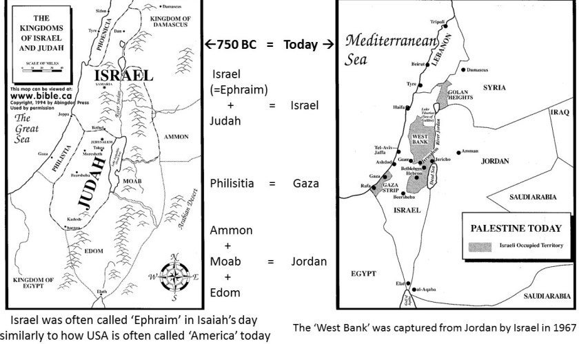 Map of Israel + Judah and surrounding countries in 750 BC vs. map of Israel and countries today