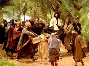 Jesus arriving on a donkey - Palm Sunday