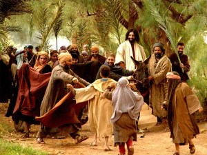 Jesus arriving on a donkey - Palm Sunday