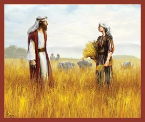 Ruth & Boaz meet. Much art has been done depicting their meeting