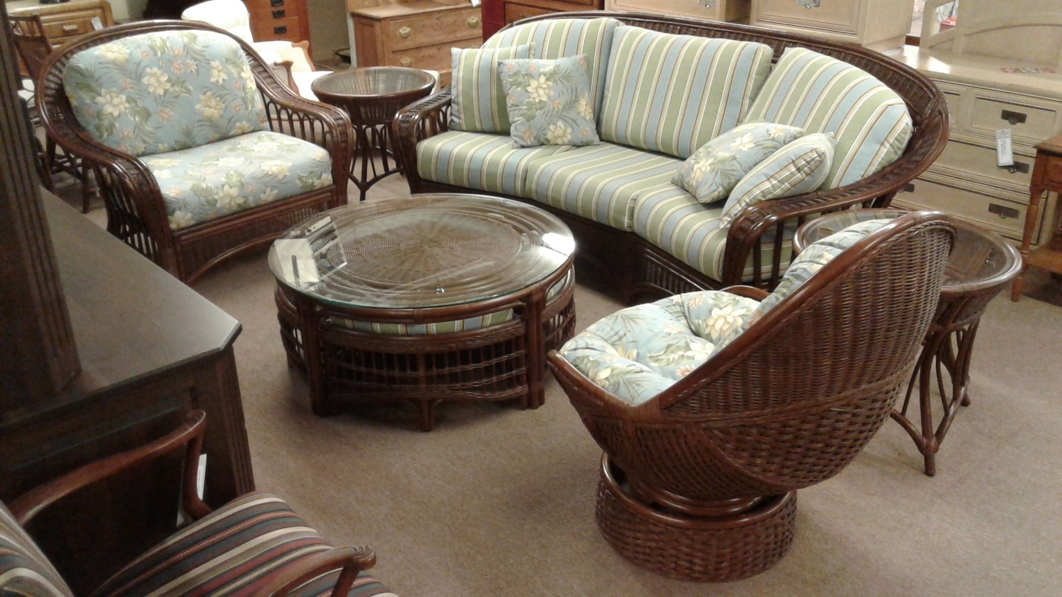 BRAXTON CULLER RATTAN SET Delmarva Furniture Consignment