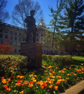 Tulips in bloom around the capital building
