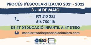 Procés d'escolarització 2021-22