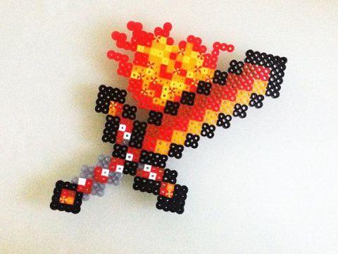Hama Beads de Minecraft Espada de Fuego