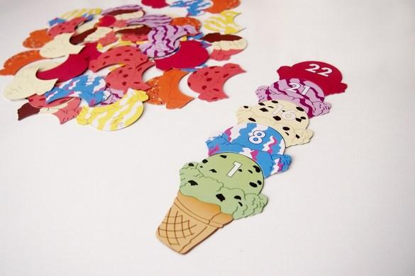 Regla de oro: una bola de helado solo puede colocarse si tiene un número mayor que la inferior.