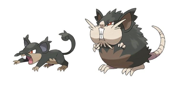 Rattata (Siniestro/Normal) de Alola y Raticate de Alola (Siniestro Normal).
