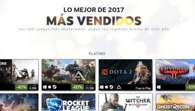 100 juegos más vendidos Steam 2017