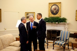 President Barack Obama talks with Israeli Prime Minister Benjamin Netanyahu and White House chief of staff Rahm Emanuel at White House on May 18, 2009. (Credit: White House photo by Pete Souza)