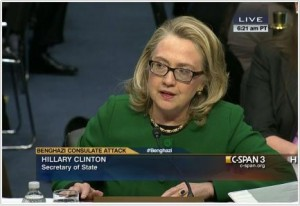 Secretary of State Hillary Clinton testifies before Congress on Jan. 23, 2013, about the fatal attack on the U.S. mission in Benghazi, Libya, on Sept. 11. 2012. (Photo from C-SPAN coverage)