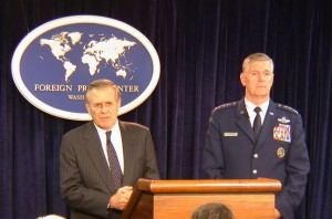 Defense Secretary Donald Rumsfeld at a press briefing with Joint Chiefs of Staff Chairman Richard Myers. (State Department photo)
