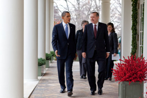 President Barack Obama walks along the Colonnade at the White House with Prime Minister Recep Tayyip Erdogan of Turkey, Dec. 7, 2009. (Official White House Photo by Pete Souza)