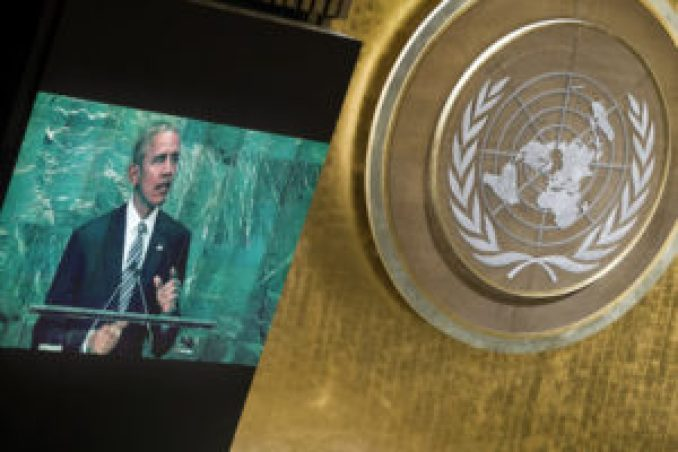 Barack Obama, President of the United States of America, addresses the general debate of the General Assembly's seventy-first session. 20 September 2016 (UN Photo)