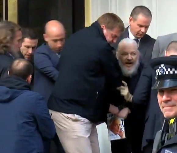 Assange being forced out of embassy, April 11, 2019. (YouTube)