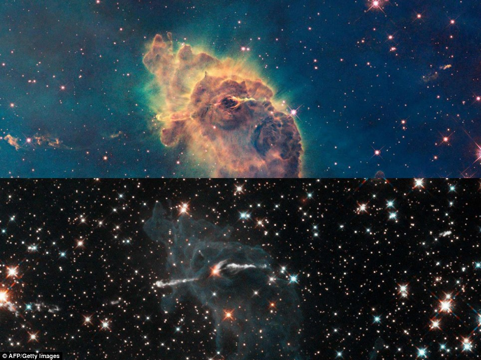 Stars bursting to life in chaotic Carina Nebula: These two images of a huge pillar of star birth demonstrate how observations taken in visible and in infrared light by NASA's Hubble Space Telescope reveal dramatically different views