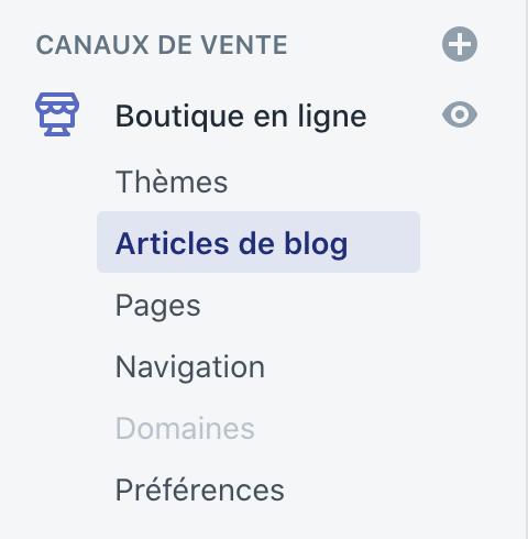 Menu blog Shopify