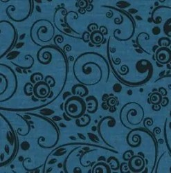 Navy flower whimsey wide fabric