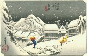 Utagawa-Hiroshige-Night-Snow-at-Kambara-1833
