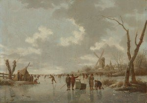 Hendrik_Willem_Schweickhardt_-_Winter_scene_with_skaters_on_a_frozen_river