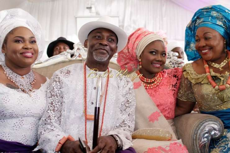 Richard Mofe Damijo and his wife Jumobi wearing white on son wedding day