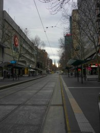 Looking up Bourke St toward Spring St 9am on a Sunday