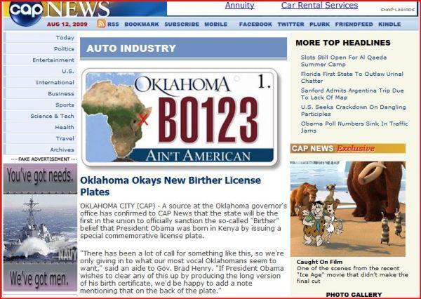 Oklahoma birther plate