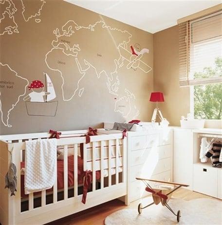 quartinho de bebe com mapa decoracao