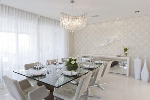 sala de jantar moderna e elegante branca
