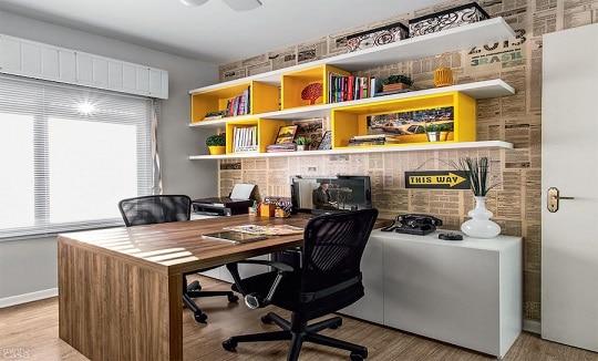 25 fotos de home office gabinete modelos para inspirar. Black Bedroom Furniture Sets. Home Design Ideas