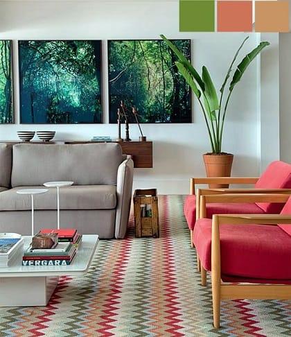 tapete colorido com estampa zigzag na sala