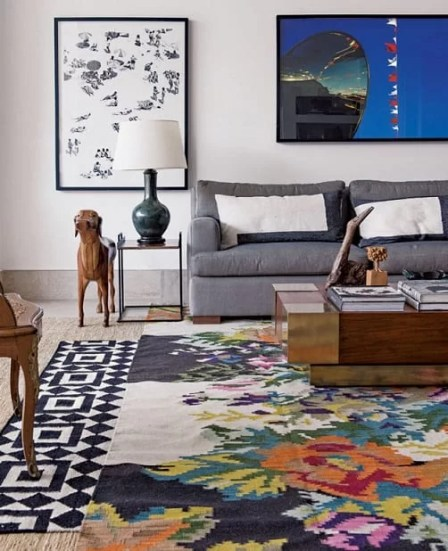 tapete geometrico colorido floral estampado