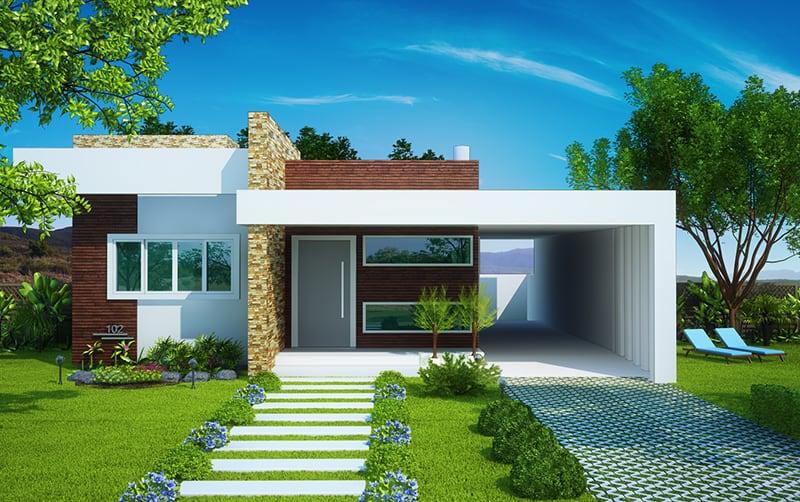 17 ideias de fachada para casas pequenas veja fotos for Estilos fachadas para casas