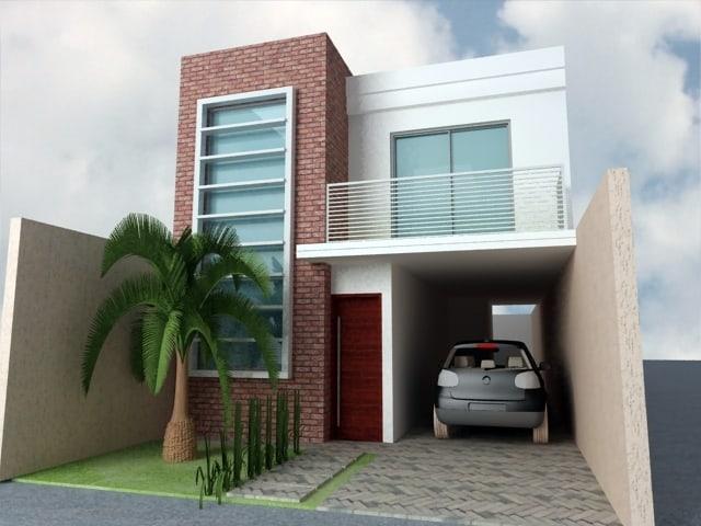 15 ideias de fachadas para sobrados pequenos e duplex fotos for Design moderno garage indipendente