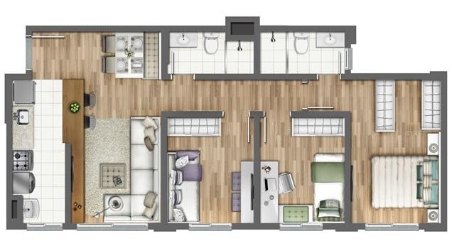 02 planta de apartamento humanizada com 3 quartos