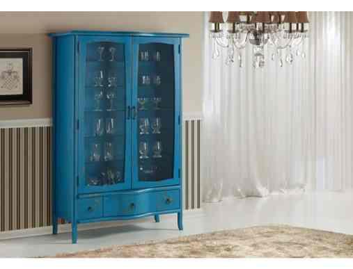 11 cristaleira antiga pintada de azul reforma de movel
