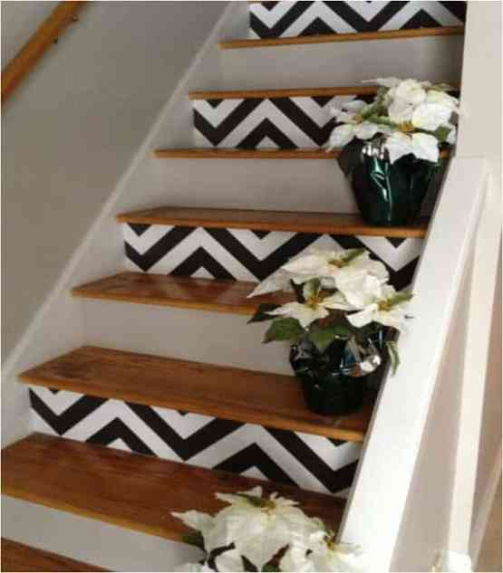 decorar escada com estampa zigzag chevron