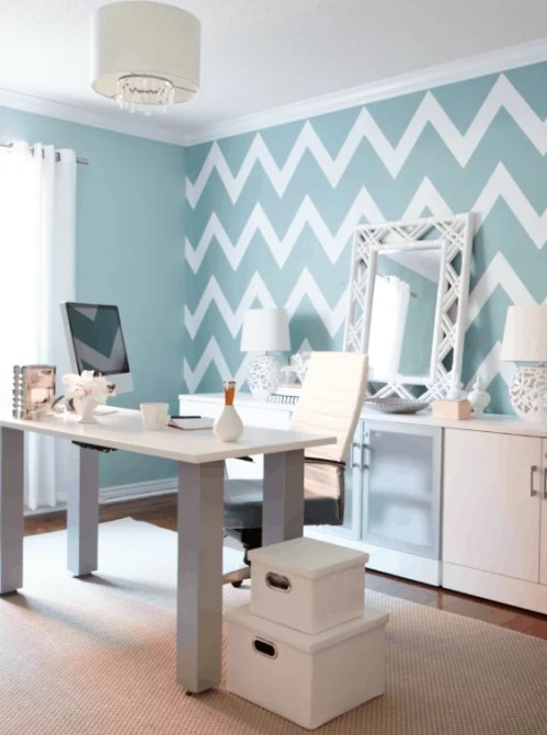 escritorio com estampa chevron zig zag azul