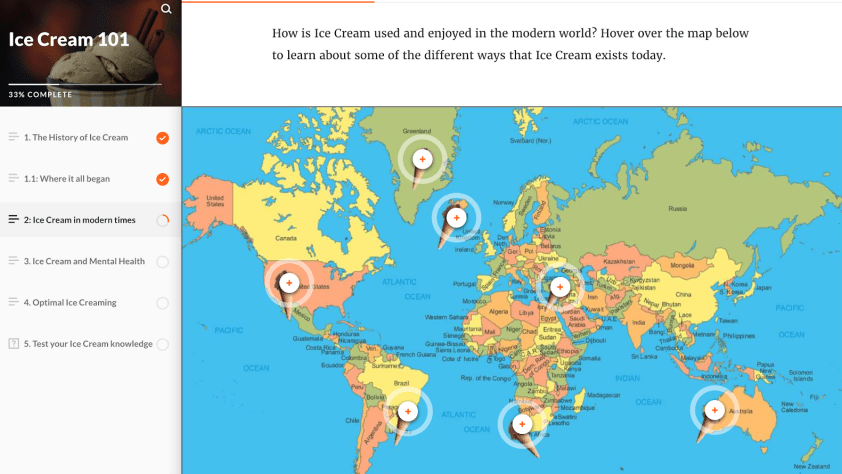 An Interactive Learning Object showing a map and how ice cream is enjoyed all over the world