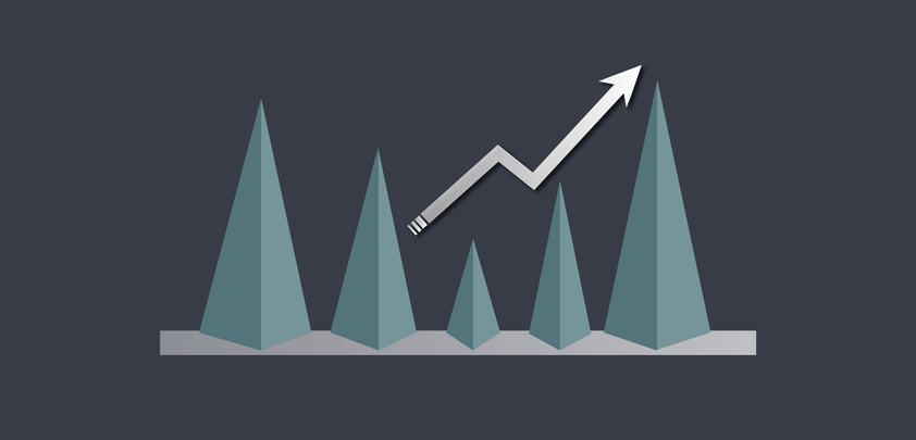 An arrow rising upwards, on some slopes