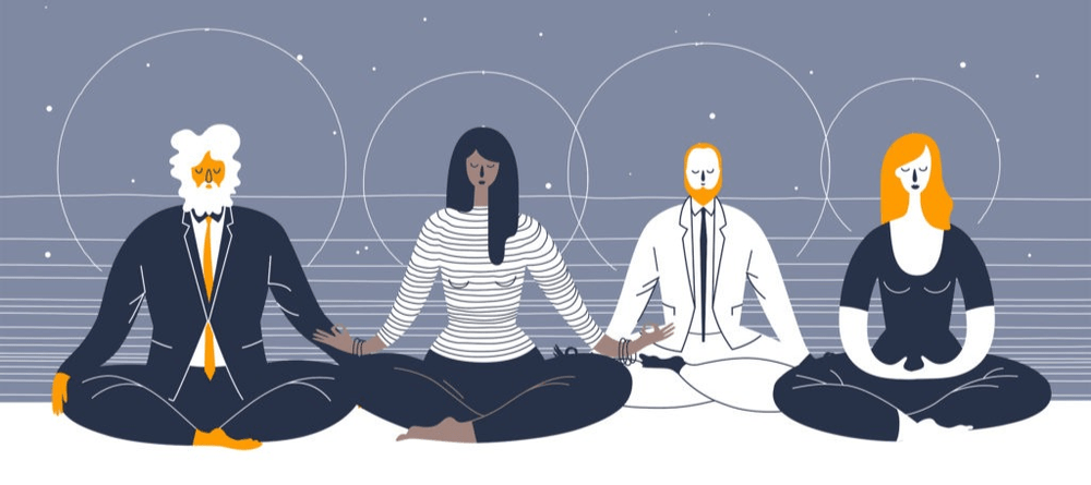 four people sitting and meditating to calm themselves