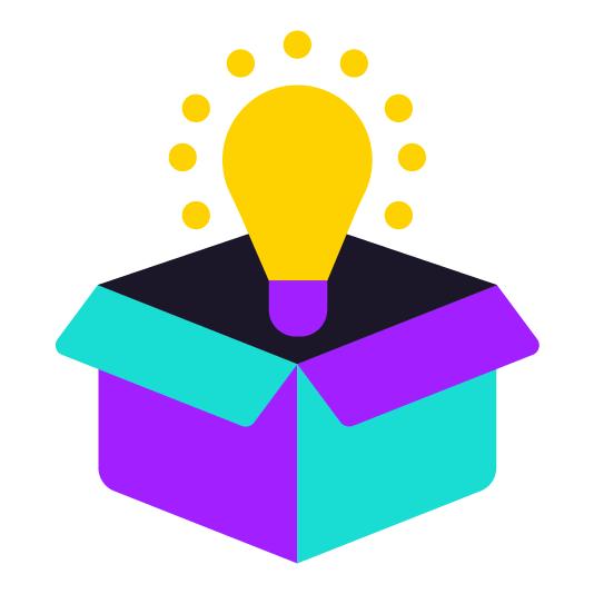 lightbulb in box icon color