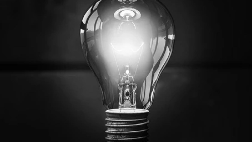 A lightbulb that is turned on