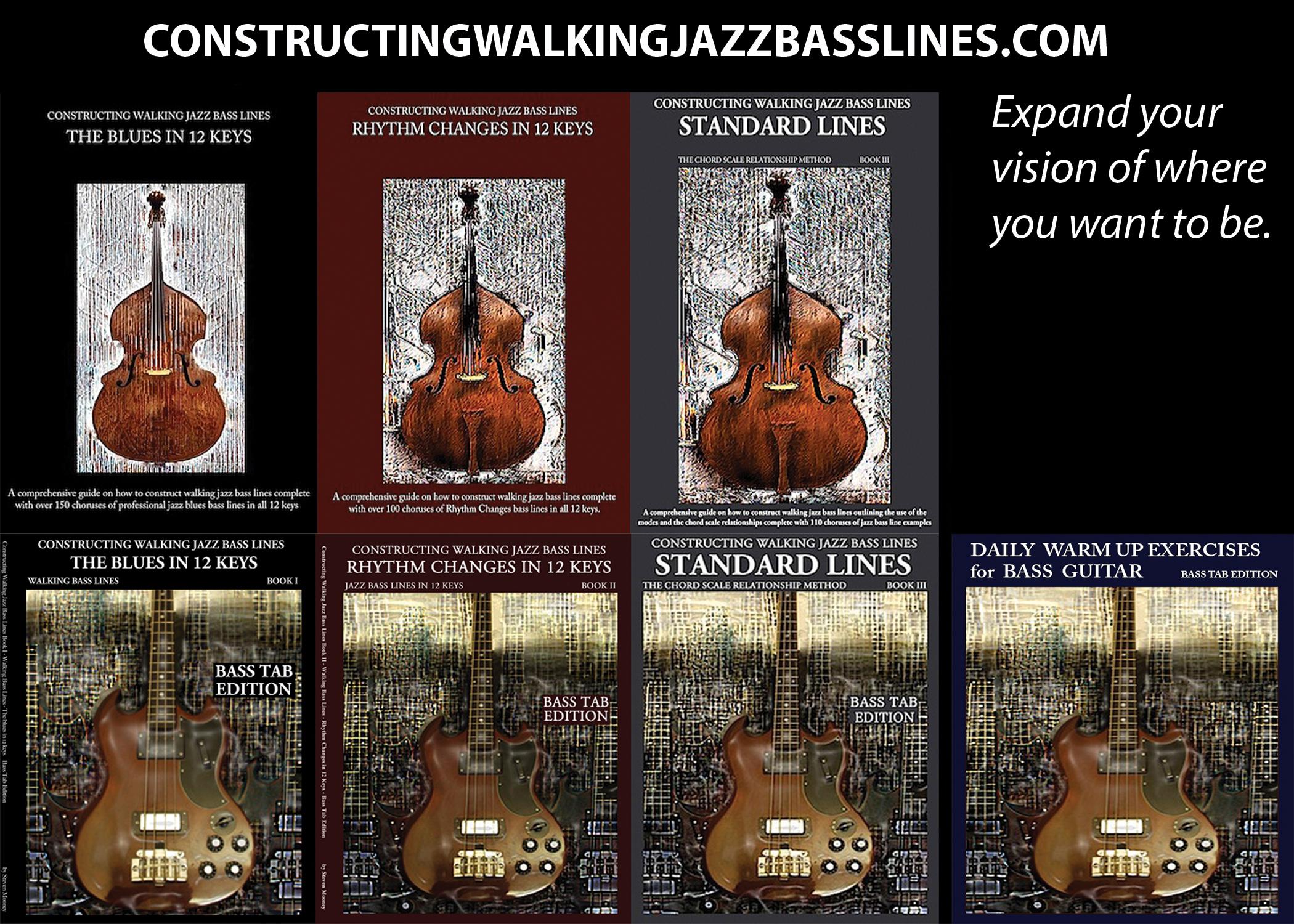 Jazz bass books in 12 keys, walking bass lines in 12 keys