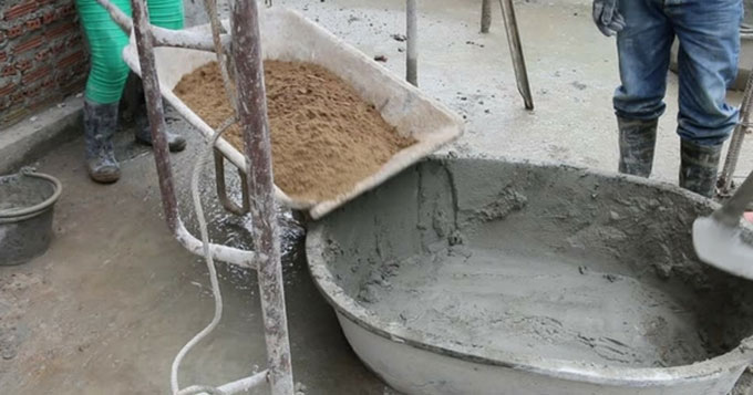 The process of concrete by weight and volume