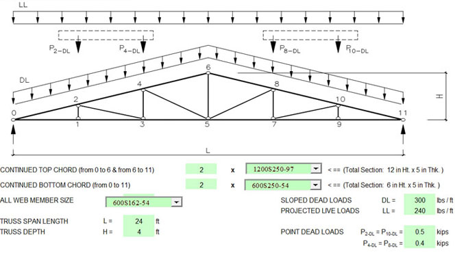 Download truss design spreadsheet