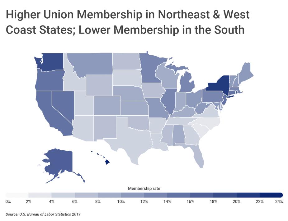 Chart3 Union membership by U.S. state