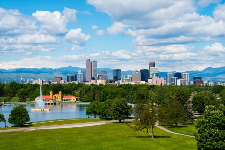 Beautiful Denver cityscape on a sunny day